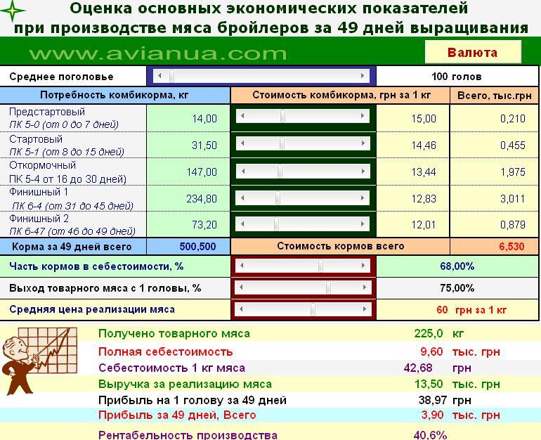 Вирощування бройлерів за 49 днів - розрахунки по фермі