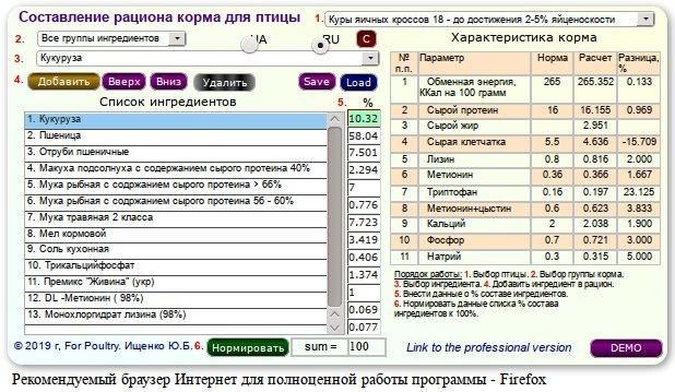 Калькулятор расчета рациона корма для птицы - онлайн расчеты по ферме